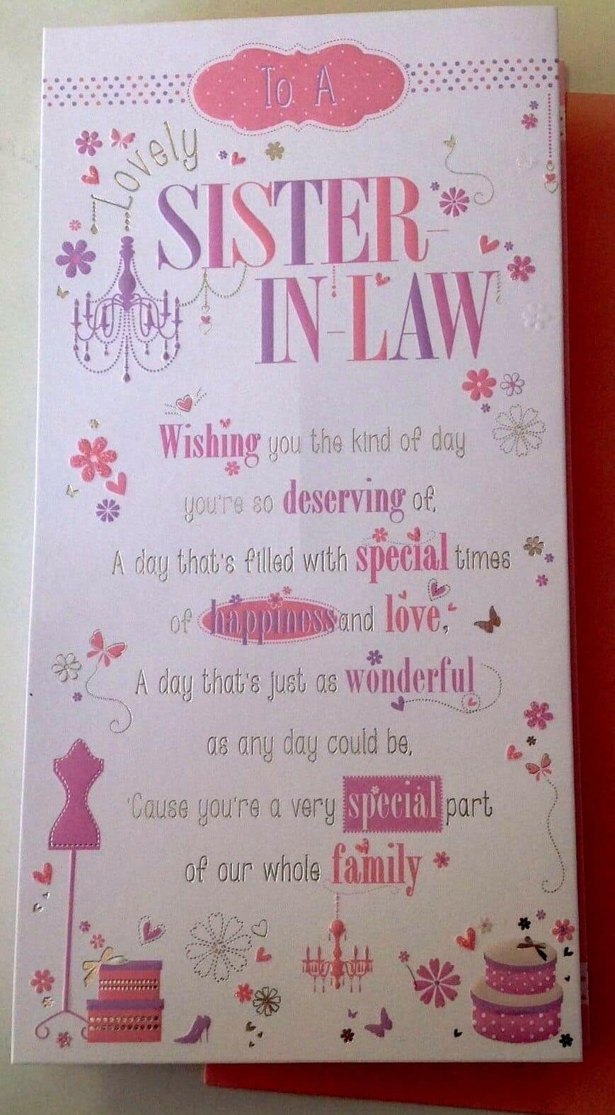 Sister In Law Birthday Card With Pop Up Verse 282518763076