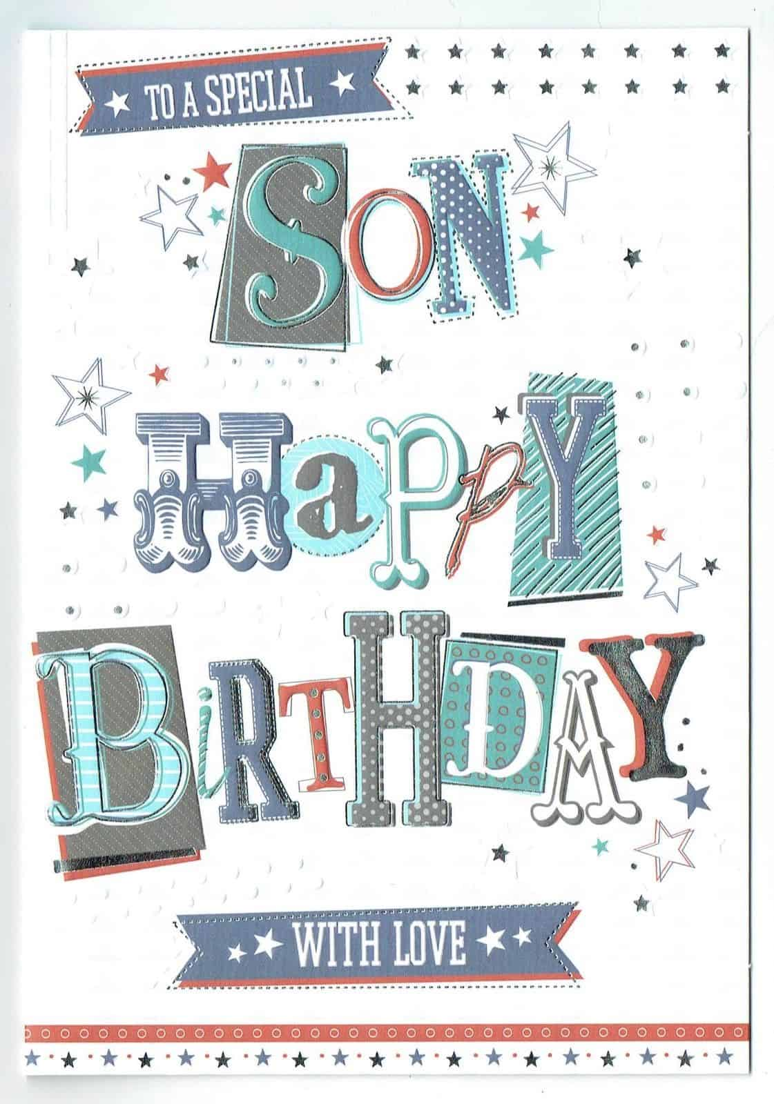 birthday card for son  card design template