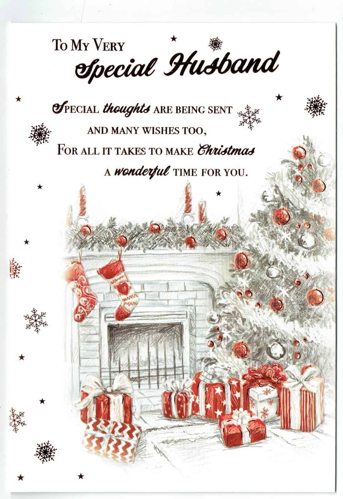 Husband Christmas Cards.Husband Christmas Card With Festive Fireplace Scene Sentiment Verse