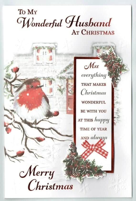 Husband Christmas Cards.Husband Christmas Card With Festive Robin Sentiment Verse
