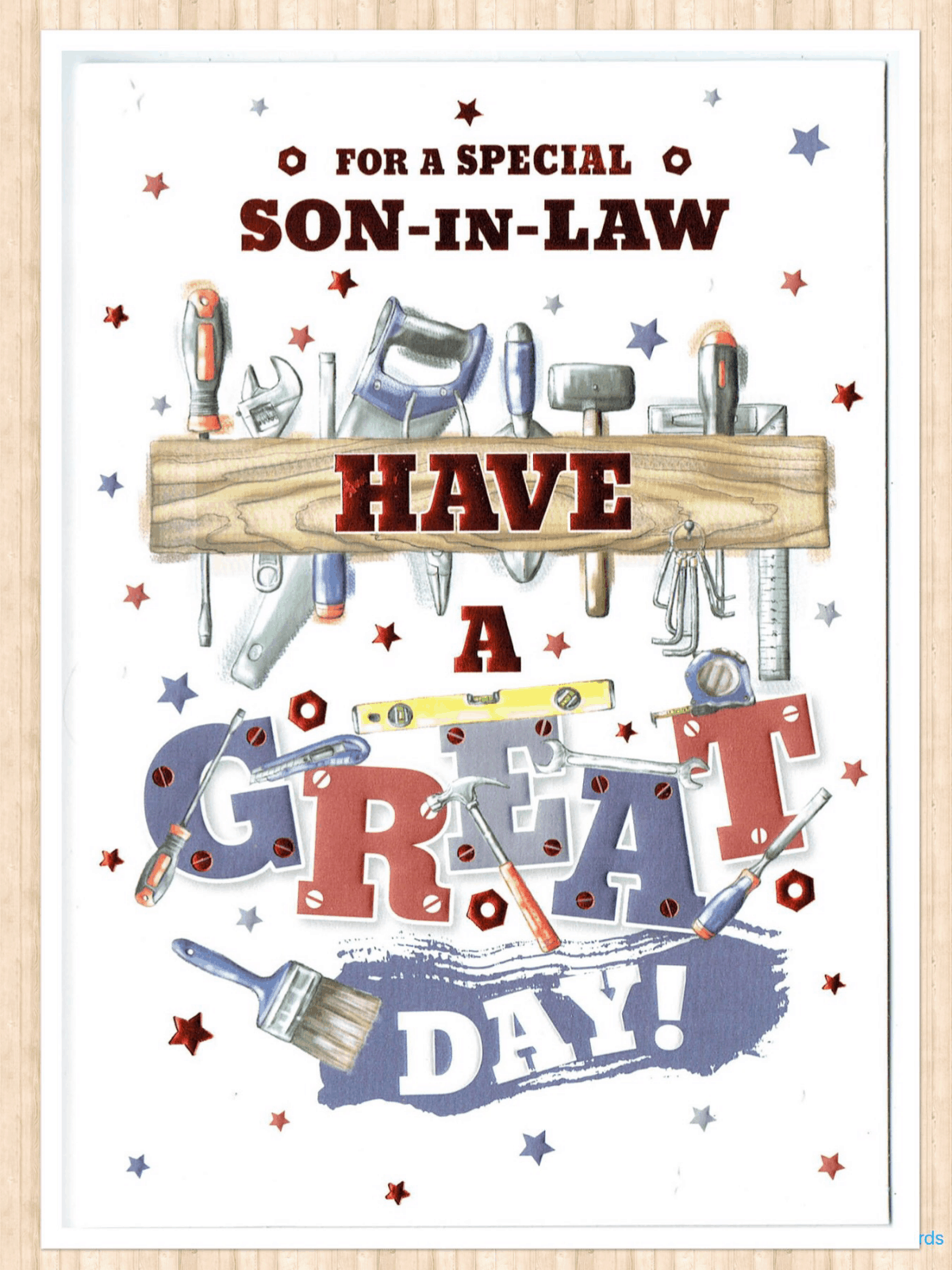 Son In Law Birthday Card With A DIY Tools Theme Free Postage