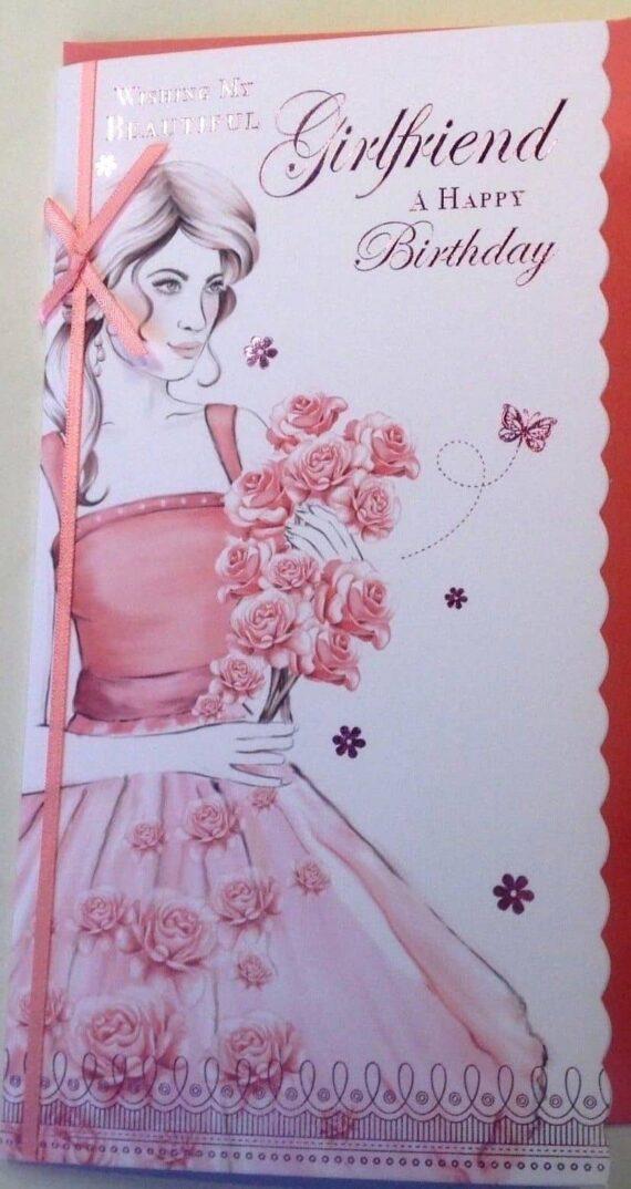 Girlfriend Birthday Card My Beautiful With Flowers Butterflies