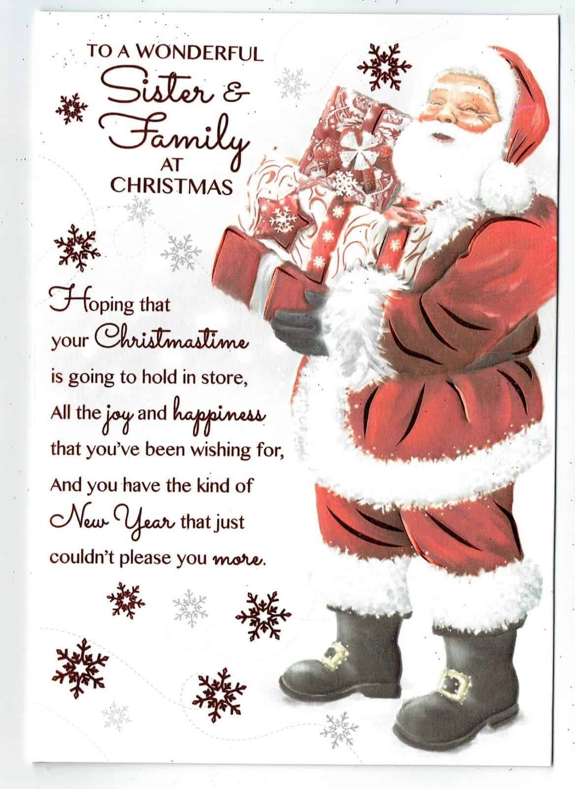 Sister And Family Christmas Card With Father Christmas And Sentiment Verse With Love Gifts Cards