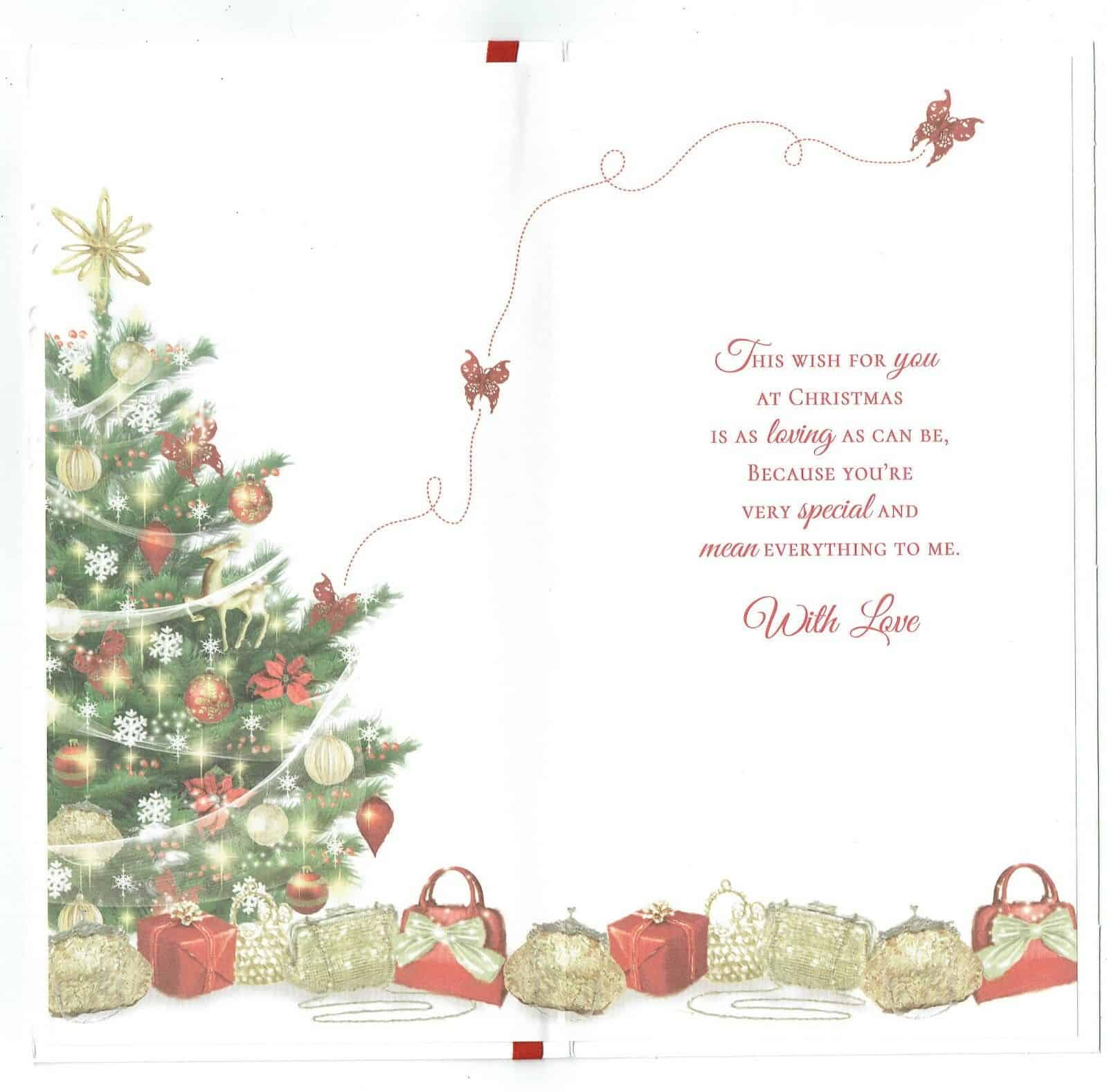 wife christmas card with embossed christmas tree and