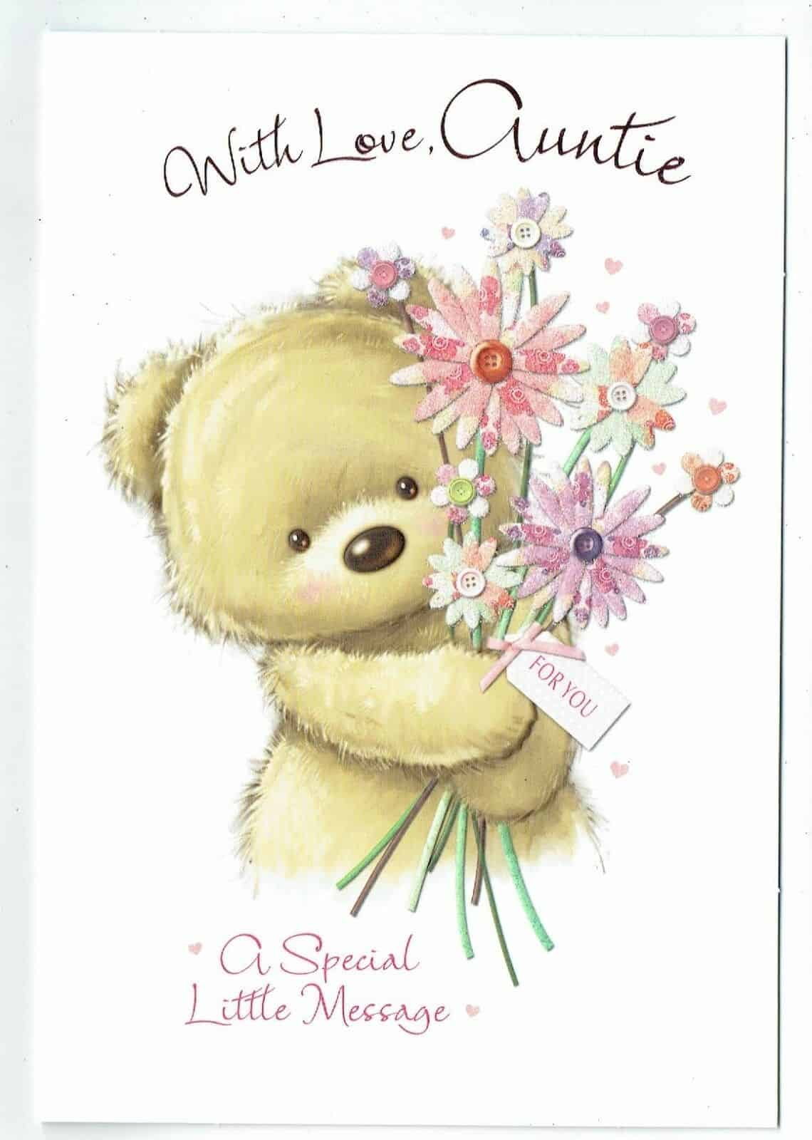 Auntie Birthday Card Embossed With Teddy Kitten Design