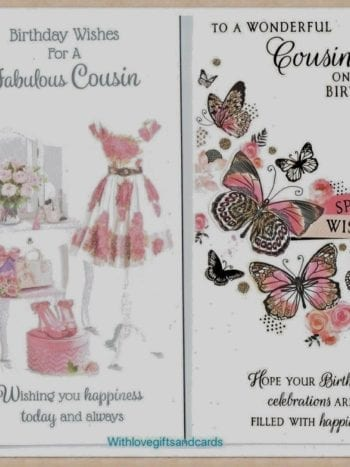 Cousin Birthday Card A Choice Of Two Female Designs